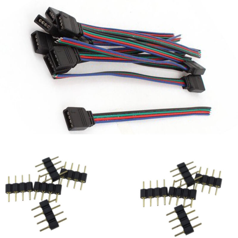 4 Pin Male Connectors And Female Wire Cables For 3528 5050 RGB LED Strip Lights • 5.95$