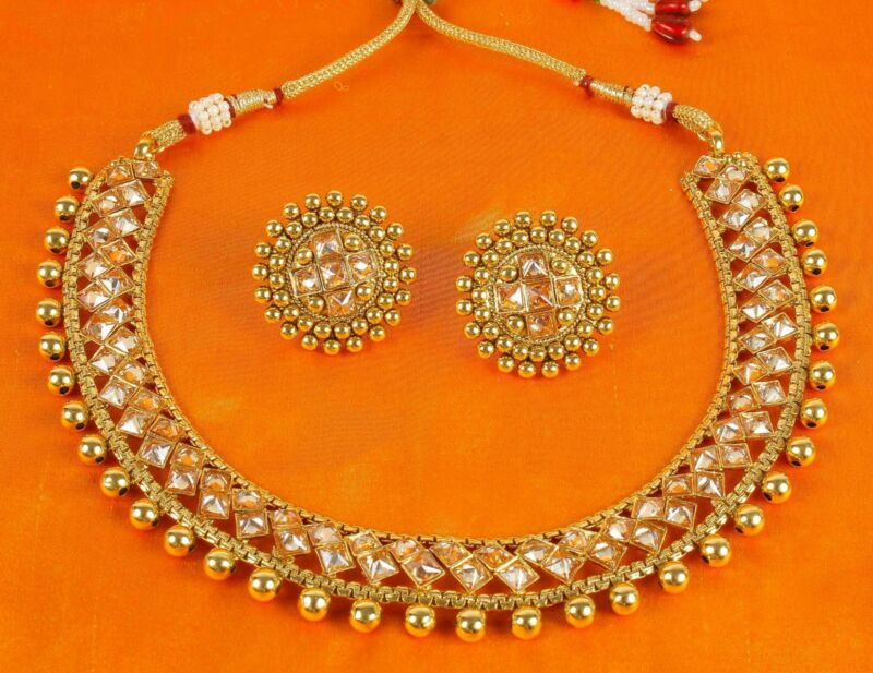 Indian Bollywood Necklace Style Gold Plated Fashion Wedding Bridal Jewelry Set • 27$