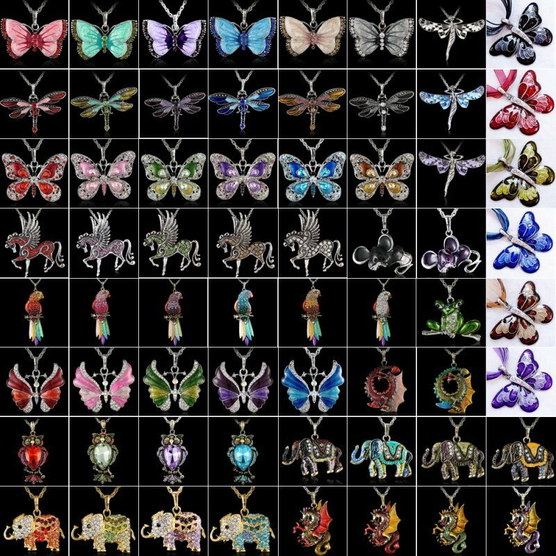 $1.31 • Buy Women Crystal Rhinestone Butterfly Horse Animal Pendant Necklace Chain Jewelry