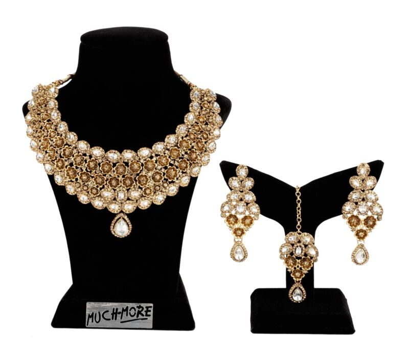 $24 • Buy Set Necklace Indian Jewelry Gold Plated Wedding Bollywood Bridal Fashion Earring