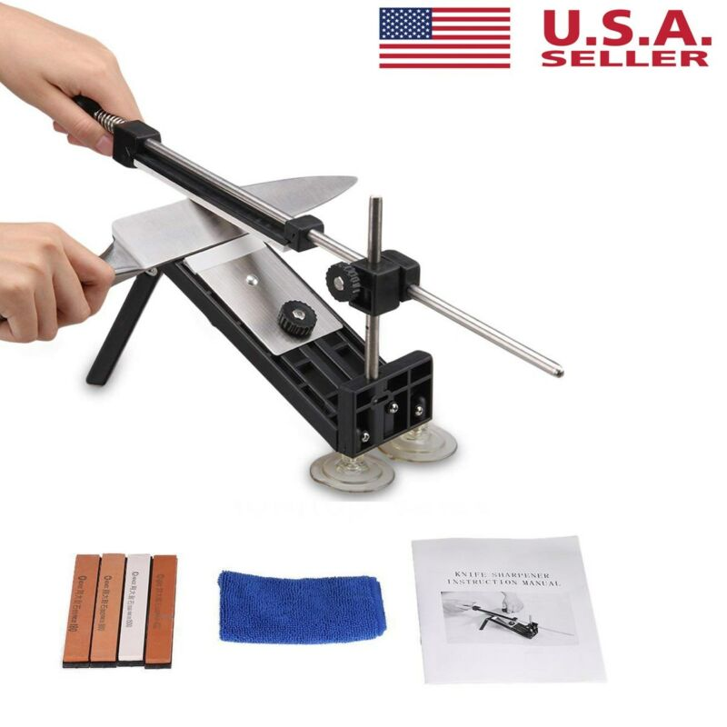 Fix-angle Knife Sharpener Professional Kitchen Sharpening System Kits W/4 Stones • 19.19$