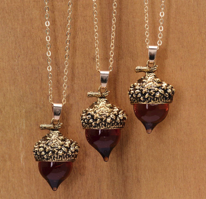 Acorn Amber Glaze Pendant Necklace ~Pick Color~ Fall Season Jewelry Boho • 8.50$