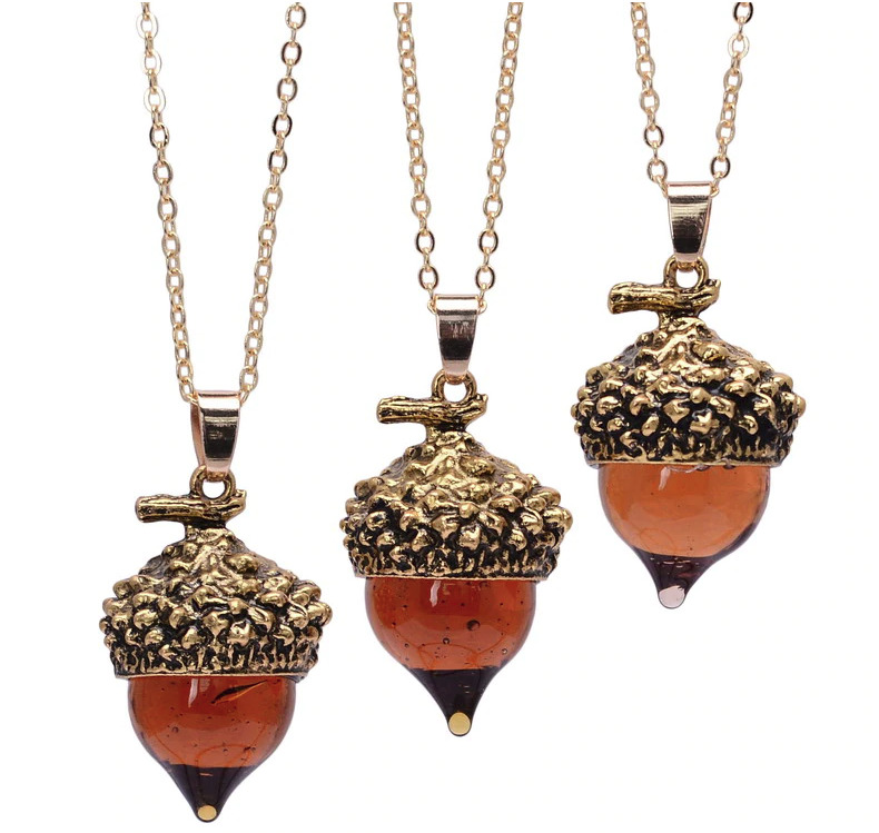 Amber Glaze Glass Acorn Long Sweater Necklace, Fall Autumn Season Nature Jewelry • 8.50$