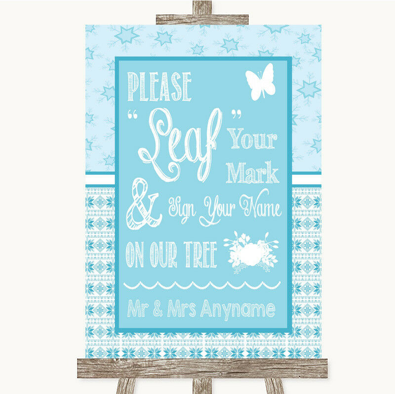 Wedding Sign Poster Print Winter Blue Fingerprint Tree Instructions • 8.29$