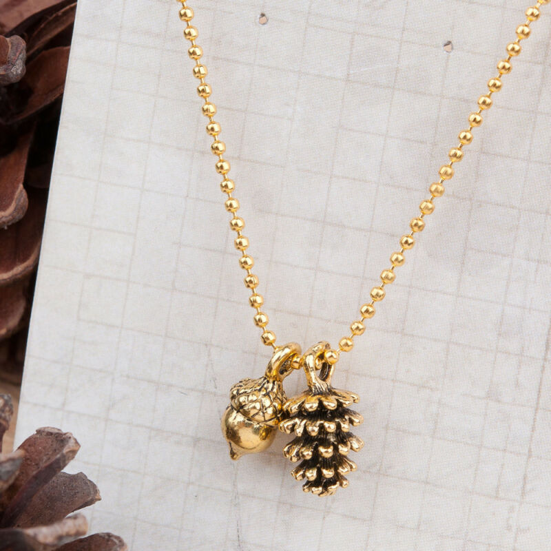 Tiny Pinecone Acorn Nut Charm Necklace, Pine Cone Golden, Fall Autumn Jewelry • 3.29$
