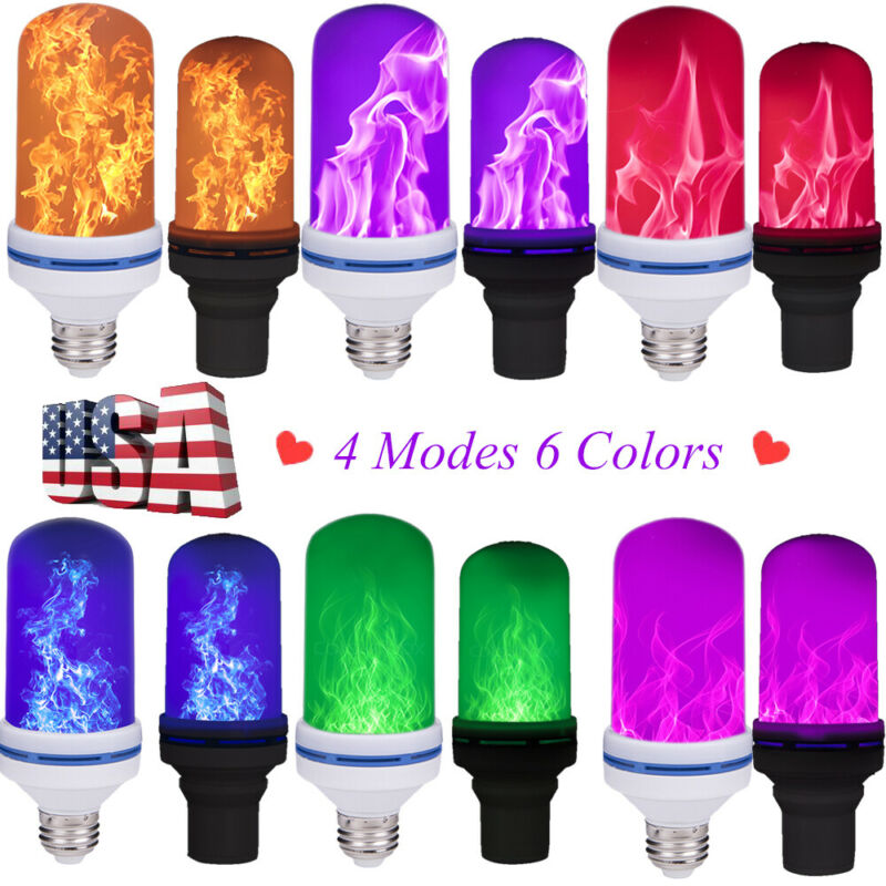 $7.99 • Buy 4 Modes E27/26 LED Flame Effect Fires Light Bulb Flickering Lamp Decor 6 Colors