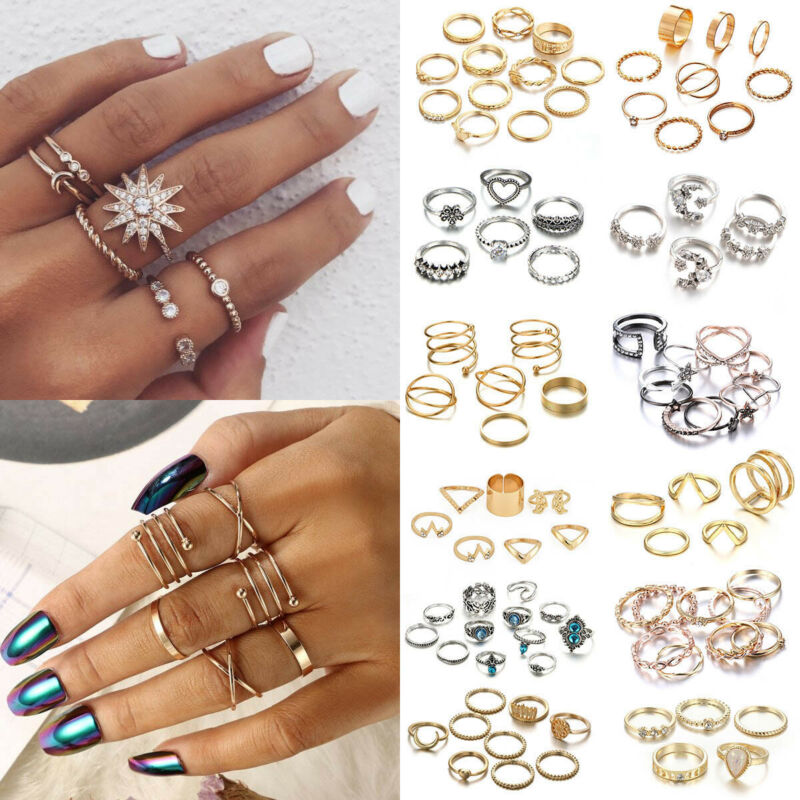 AU1.45 • Buy Fashion Silver Gold Boho Stack Plain Above Knuckle Ring Midi Finger Rings Set