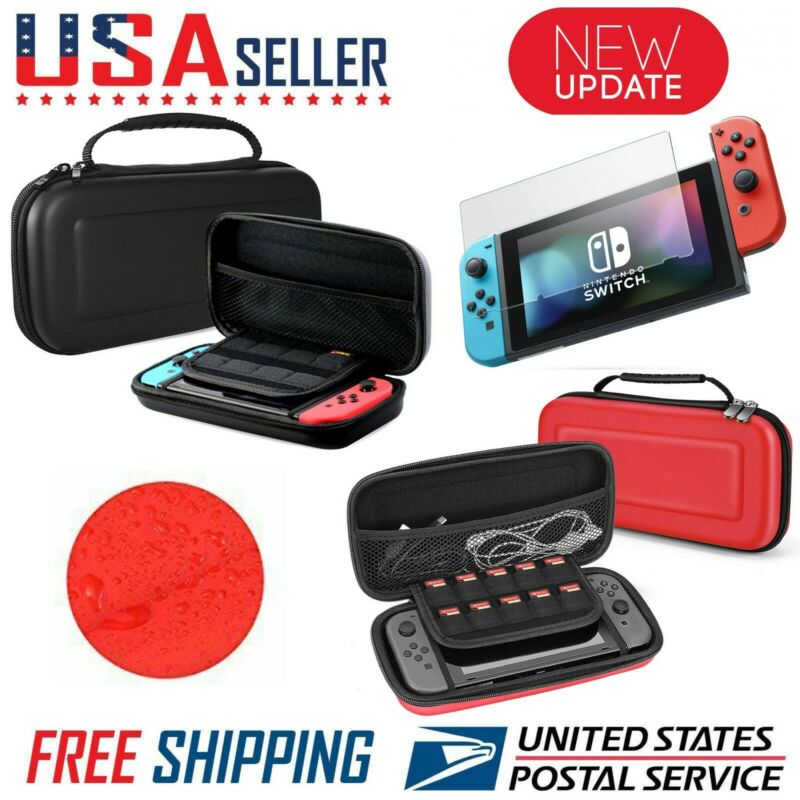 Nintendo Switch Carrying Case Hard Shell Portable Pouch Travel, Screen Protector • 9.99$