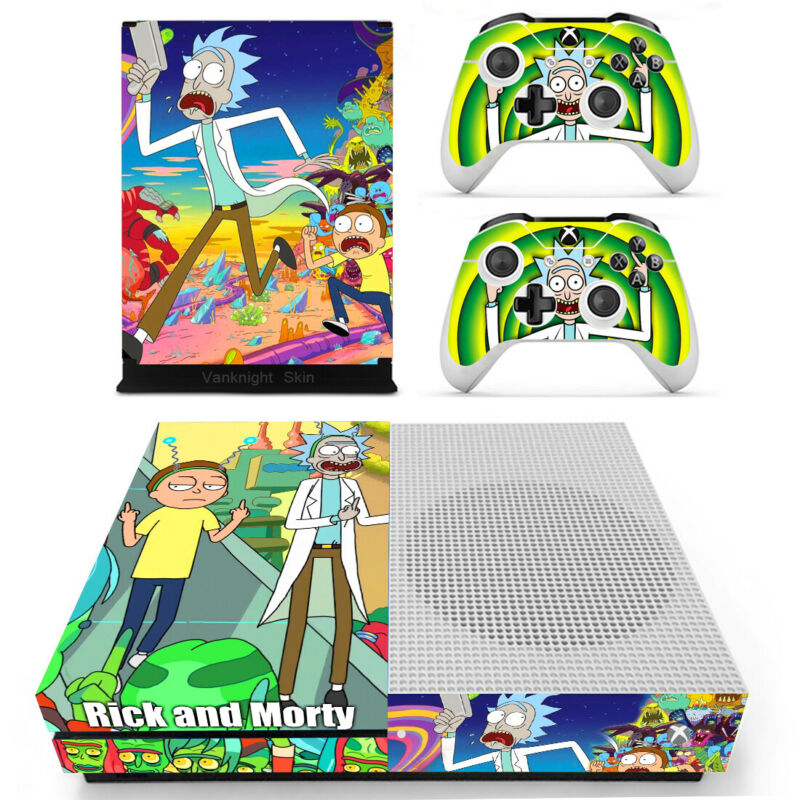 $12.50 • Buy Xbox One Slim S Console Controllers Cover Rick Morty Vinyl Decal Skin Stickers
