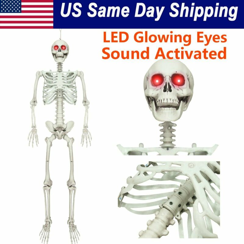 $25.86 • Buy Halloween Posable Life Size Prop Skull Skeleton Sound Activated LED Glowing Eyes