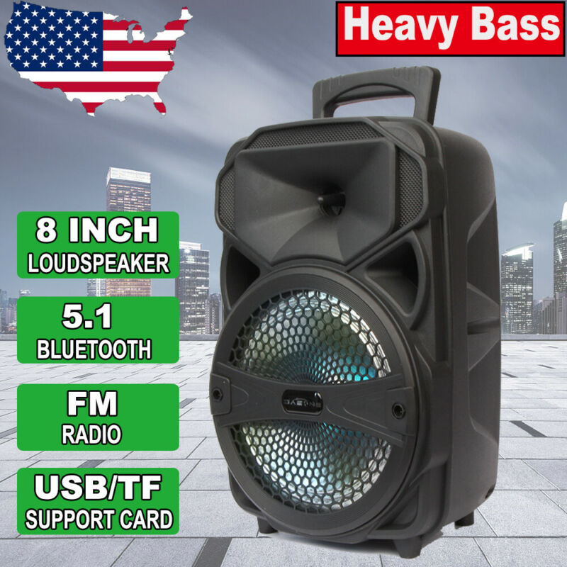 8  Party Bluetooth Led Speaker 1000 Watts System Portable Stereo Tailgate Loud • 32.49$