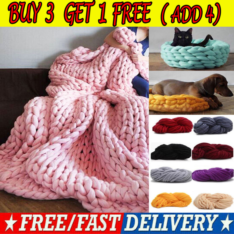 AU10.95 • Buy 250g Super Thick Bulky Wool Yarn Soft Chunky Hand Knitting Hat Scarf Blanket GN