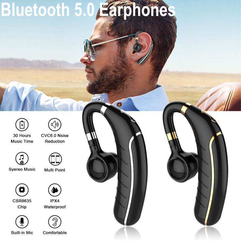 $11.85 • Buy Ear Hook Bluetooth 5.0 Earphone Stereo Bass Headphone Wireless Sport Headset Mic