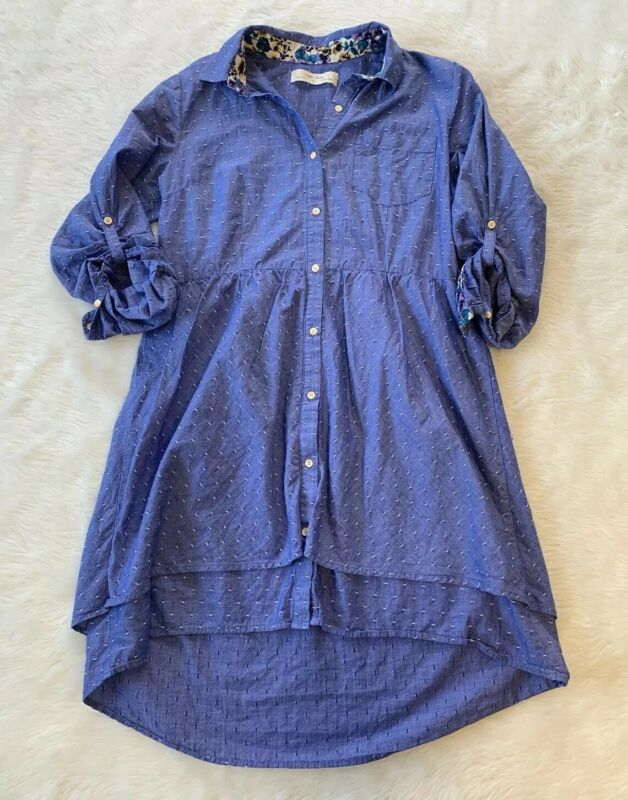 $ CDN50 • Buy Isabella Sinclair Two Tier Dotted Shirt Dress Size Medium Anthropologie