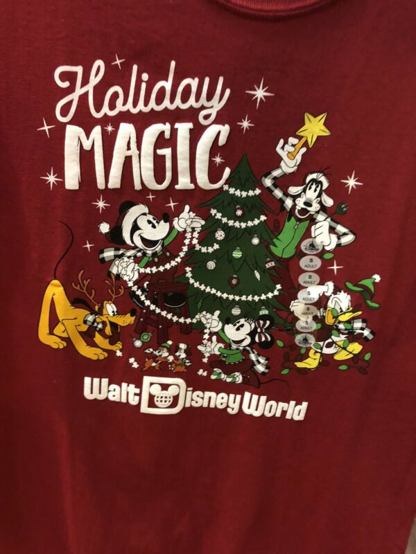 Disney World Parks 2019 Holiday Magic Mickey & Friends Adult T-shirt Top Tee • 29.99$