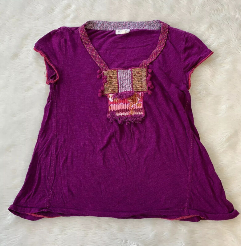 $ CDN20 • Buy Meadow Rue Purple Braided Detailed Top Size Small Anthropologie Shirt
