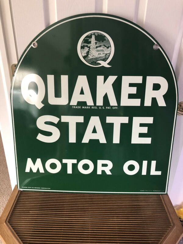 Vintage Original Quaker State Motor Oil Double Sided Sign • 300$