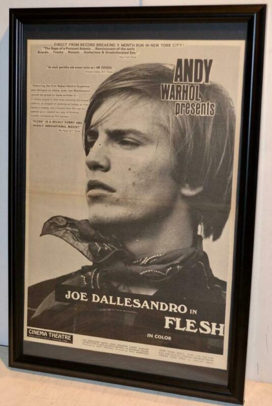 $49.99 • Buy Andy Warhol Presents 1968 Joe Dallesandro Flesh Movie Framed Poster / Ad Rare