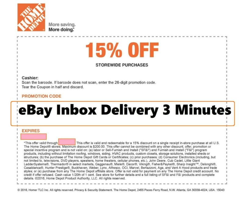 $27 • Buy ONE~1X-Home Depot 15% OFF Coupon Save Up To $200-Instore ONLY-FAST--SENT_-_-_-_-