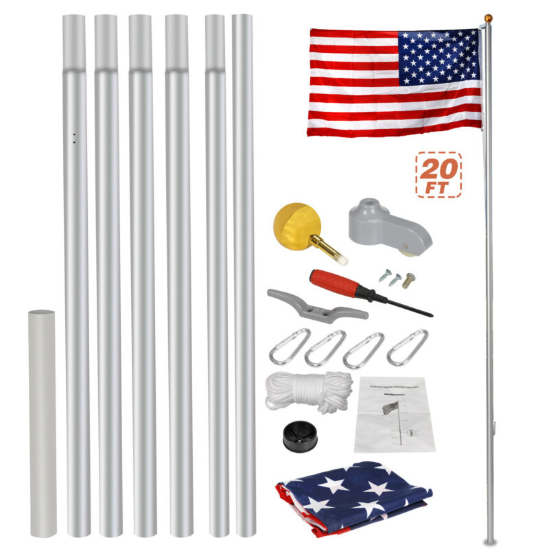 Heavy Duty Aluminum 20' Sectional Flag Pole Kit W/ 3' X 5' US Flag Gold Ball Kit • 34.39$