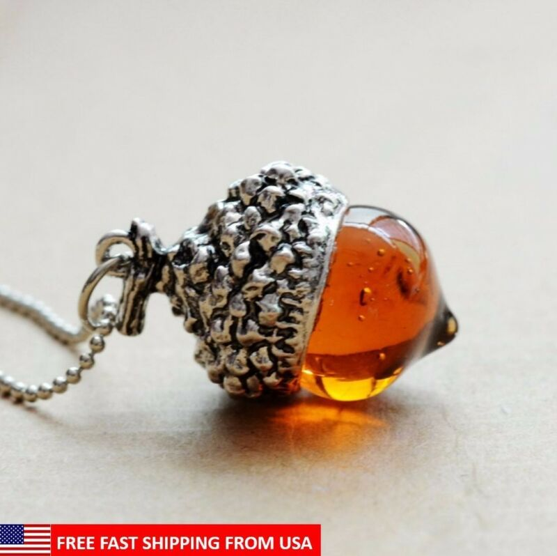 Glaze Glass Acorn Necklace Pendant Antique Silver With Long Chain - Ships Fast!  • 8.99$