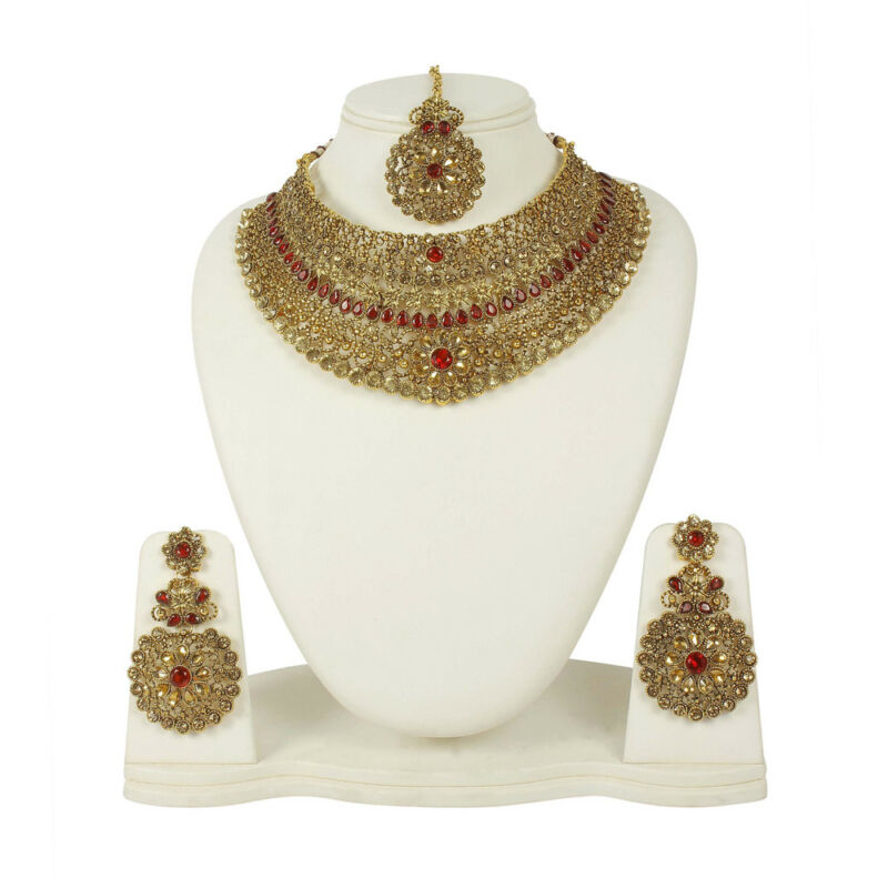 $28 • Buy Indian Fashion Necklace Gold Plated Bridal Bollywood Designer Women Jewelry Set
