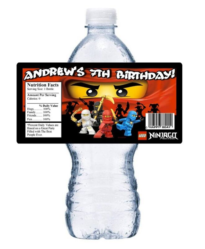 $8.69 • Buy Lego Ninjago Personalized Birthday Party Favors ~ Water Bottle Labels Wrappers