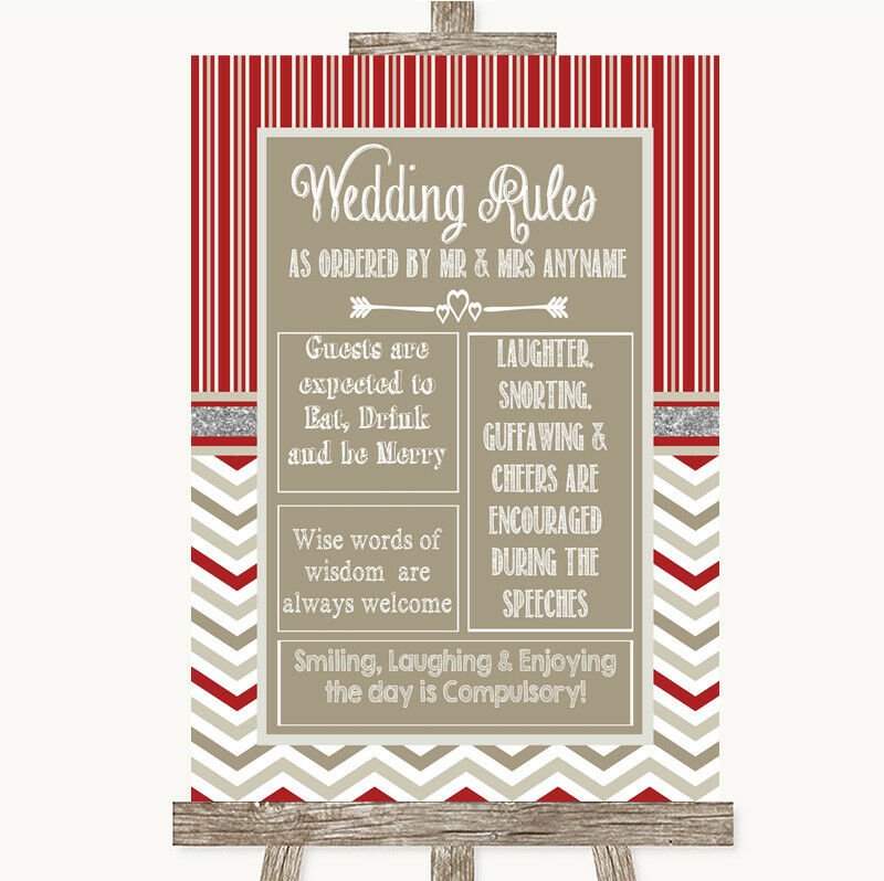 Wedding Sign Poster Print Red & Grey Winter Rules Of The Wedding • 8.29$