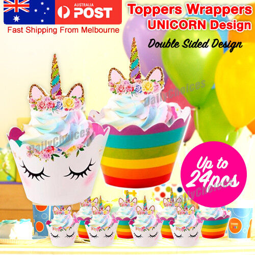 AU11.49 • Buy Unicorn Cupcake Toppers & Wrappers 24 Pcs Birthday Party Supplies Decoration