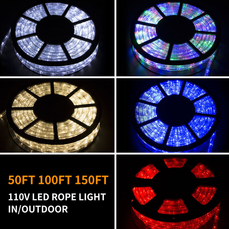 $28 • Buy 50/100/150FT LED Rope Light Strip Indoor Outdoor Waterproof Decorative Lights