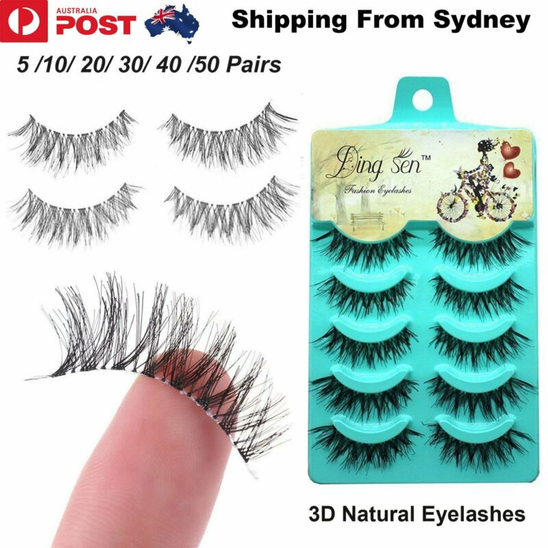AU5.69 • Buy AU UP 50 Pairs 3D Natural Thick Fake False Eyelashes Extension Eye Lashes Makeup