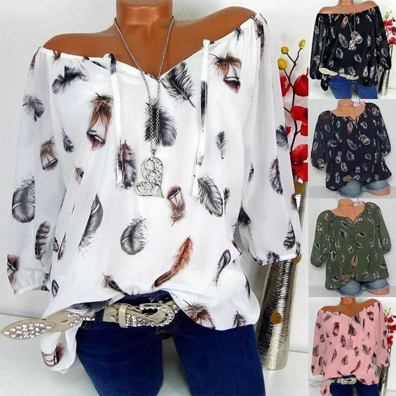 AU12.91 • Buy Plus Size Womens Boho T Shirt Long Sleeve Off Shoulder Loose Tops Blouse Printed
