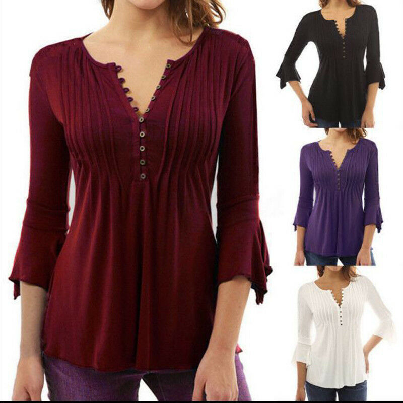 AU13.29 • Buy Plus Size Womens Frill 3/4 Sleeve Blouse Tops V Neck Casual Shirt Dress Ruffle