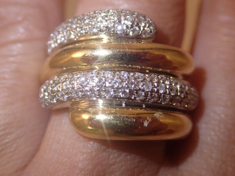 $900 • Buy Heavy 18k Dual Tone Solid Gold 0.8ct SI H Diamond Ring...gorgeous 15g