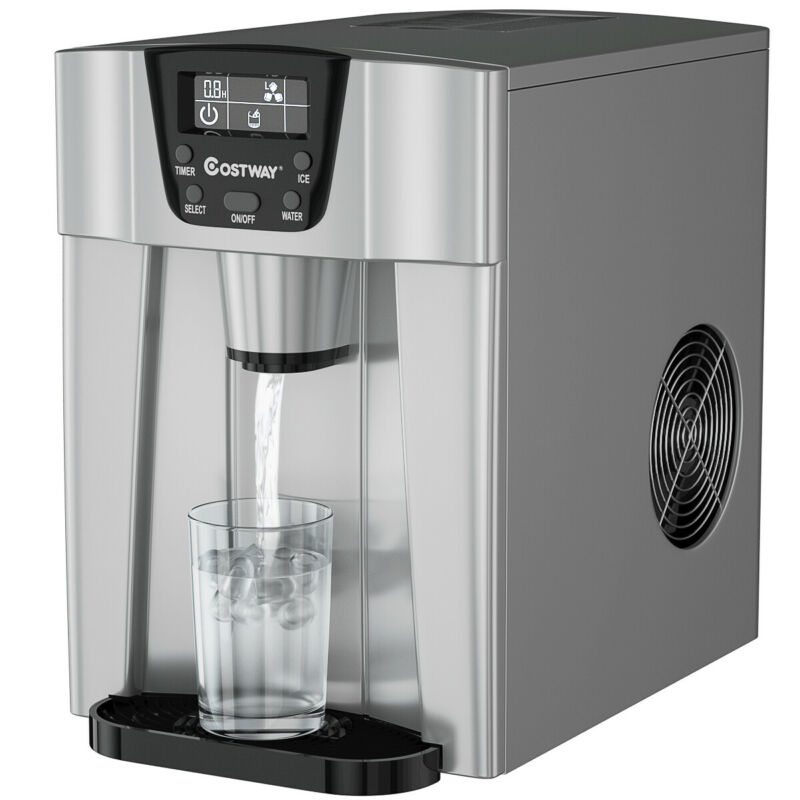 $174.99 • Buy 2 In 1 Ice Maker Water Dispenser Countertop 26Lbs/24H LCD Display Portable New