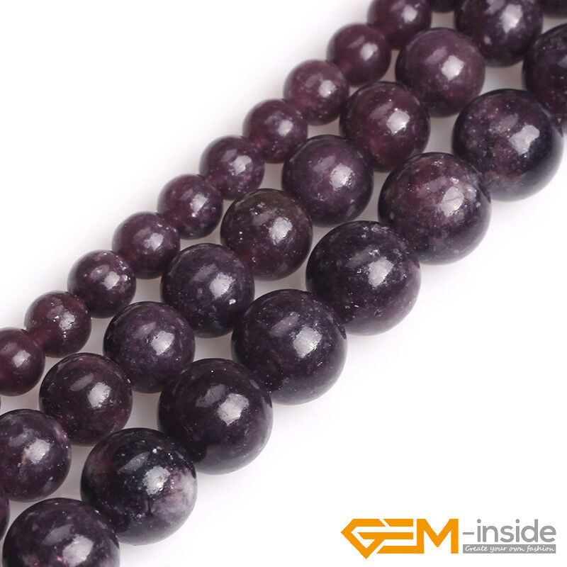 Natural Stone Purple Lepidolite Round Beads For Jewelry Making 15  6mm 8mm 10mm • 4.71$