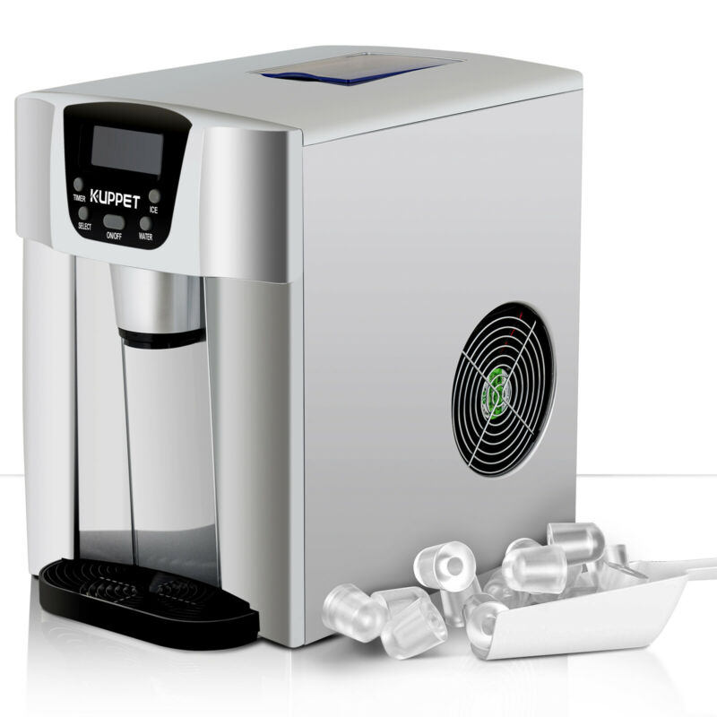 2 IN 1 26LBS Electric Cool Water Dispenser Built-In Ice Maker Machine Silver • 118.90$