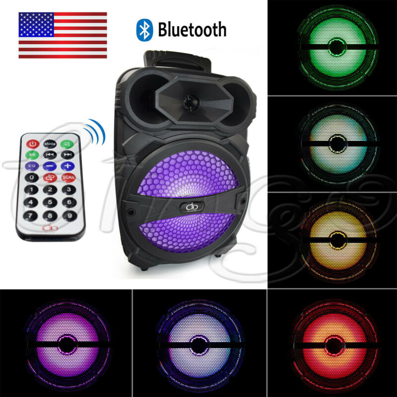 8 In Party Bluetooth Speaker 1000 Watts System Led Portable Stereo Tailgate Loud • 32.49$