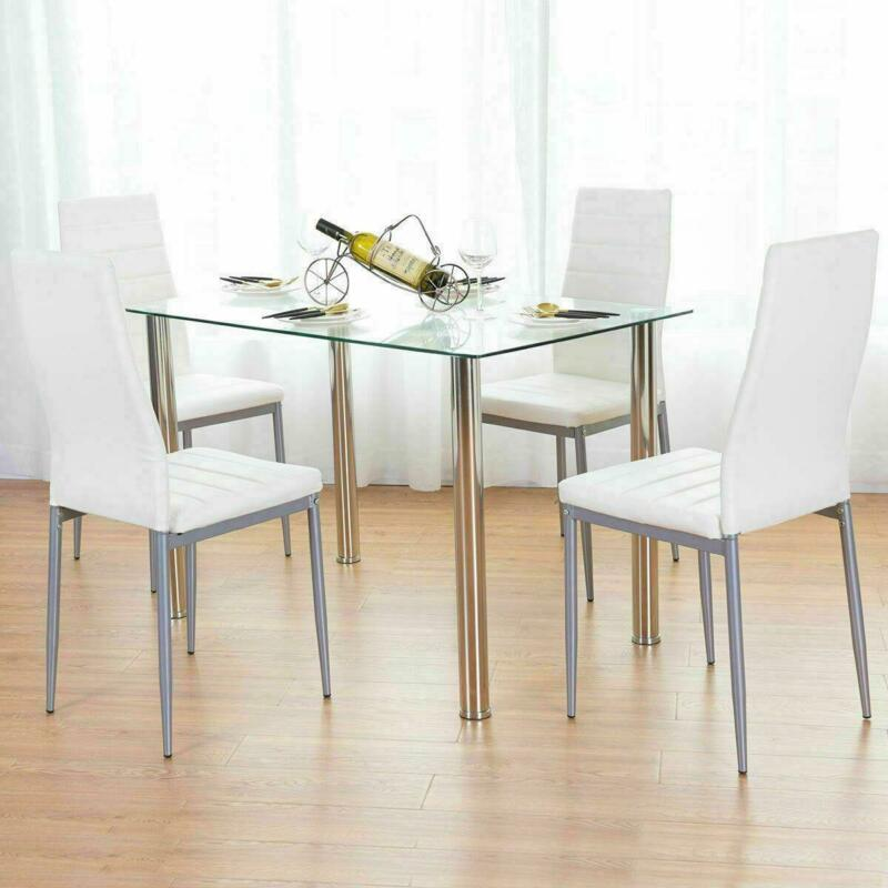 5 Piece Dining Table Set White Glass And 4 Chairs Faux Leather Kitchen Furniture • 141.50$