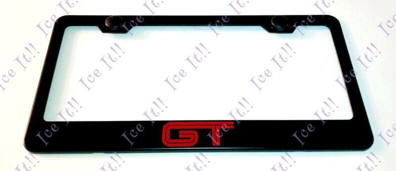 Red For GT Mustang Stainless Steel Black License Plate Frame W/ Bolt Caps • 13.50$