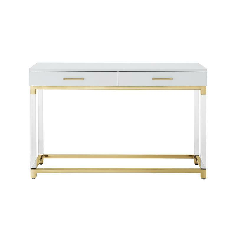 $470.49 • Buy Briar High Gloss Console Table Acrylic Legs And Metal Base White/Gold