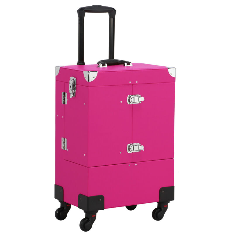 $65.99 • Buy Professional Makeup Train Case Rolling Cosmetic Travel Trolley With Mirror Pink