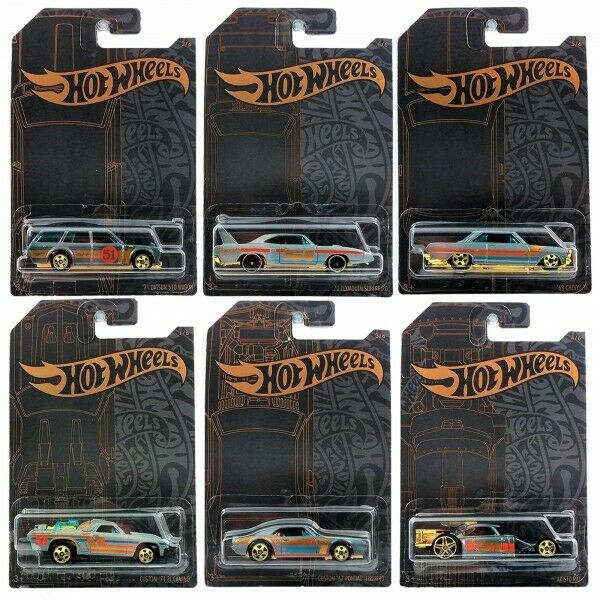 Hot Wheels 51st Anniversary Satin And Chrome Series Set Of 6 Cars 2019 • 14.99$