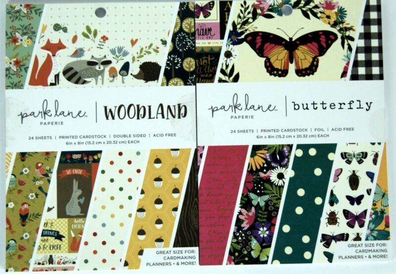 $12.95 • Buy Park Lane Cardstock Lot, Woodland And Butterfly, Each Includes 24 6 X8  Sheets