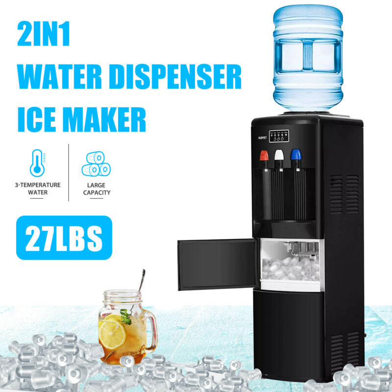 $259.90 • Buy 2IN1 Electric Hot Cold Water Dispenser Ice Maker Machine With Safety Lock Black