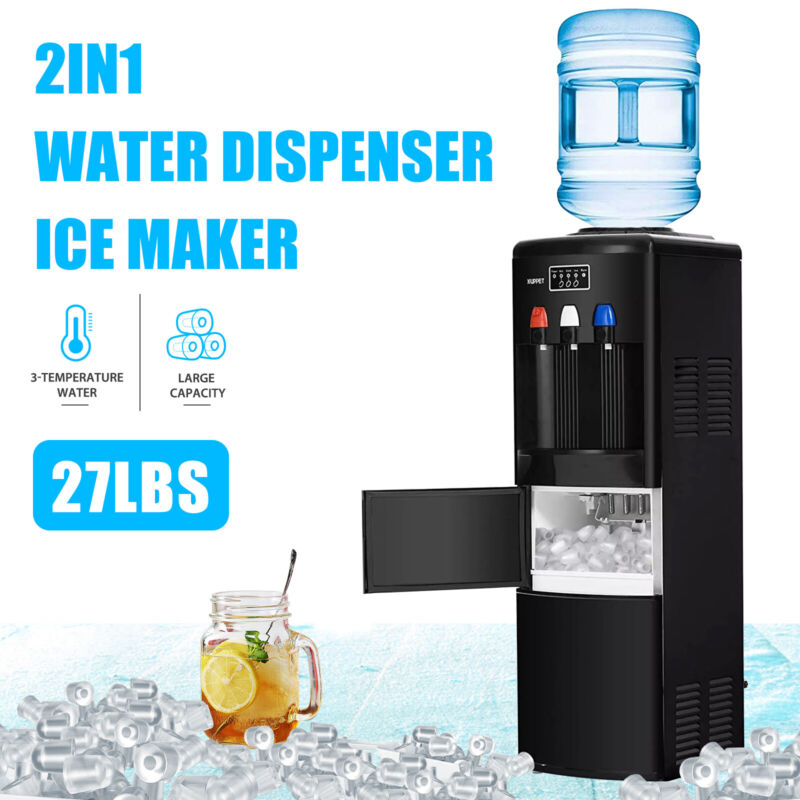 2IN1 Electric Hot Cold Water Dispenser With Ice Maker Machine Safety Lock Black • 259.90$