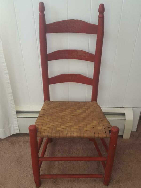 $59.20 • Buy Antique RED Ladder Back Wooden Chair Woven Wicker Seat Primitive Spindles Rustic