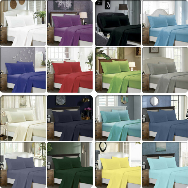 AU37.99 • Buy 1000TC Ultra Soft 4ps/3pc Flat & Fitted Sheet Set Queen/King/Super King Size Bed