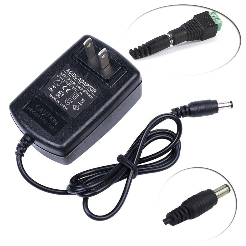 Ac Dc 12v 2a Us Power Supply Adapter Charger For Camera / Led Strip Light Cctv • 3.46$