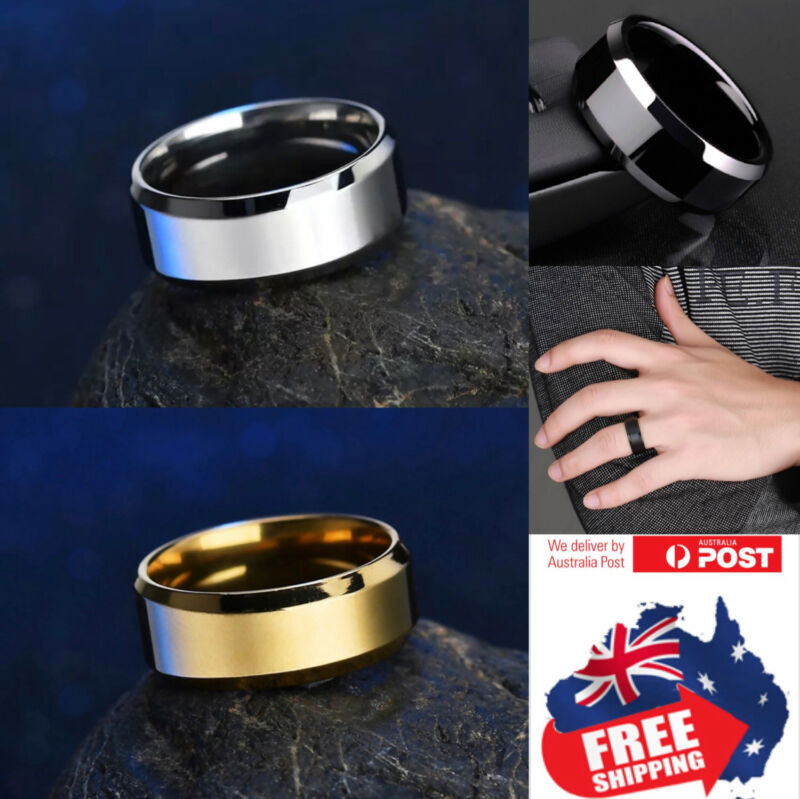 AU5.75 • Buy Titanium Stainless 8mm High Polished Men Women Wedding Band Comfort Ring 1pc